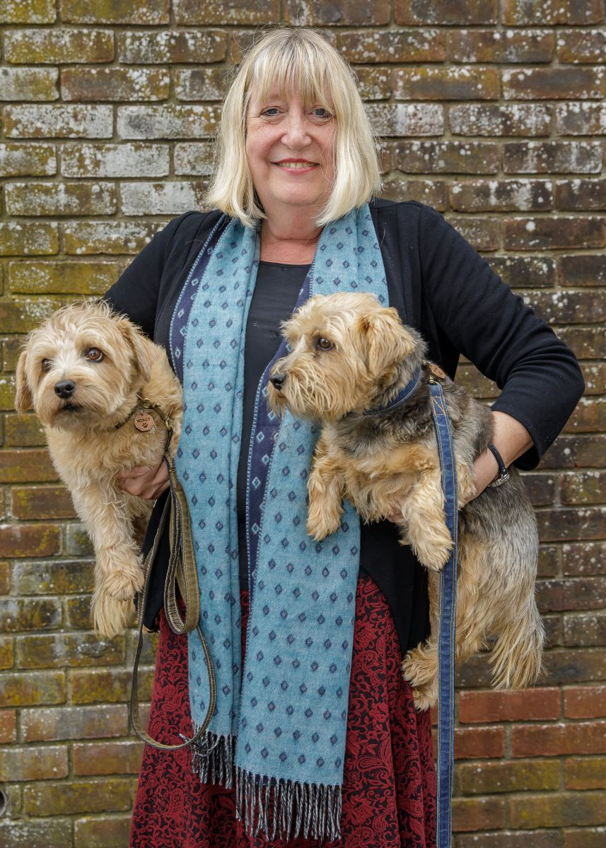 Lynne Truss with her loyal companions